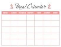 Posiłku planisty Kalendarzowej karty Plakatowy elegancki, śliczny i fotografia royalty free