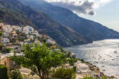Positano on Amalfi Coast near Naples in Italy. Posi on Sorrento Peninsula in South Italy Royalty Free Stock Photos