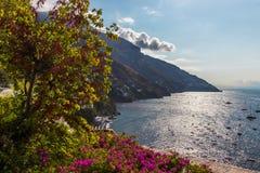 Positano on Amalfi Coast near Naples in Italy. Posi on Sorrento Peninsula in South Italy Royalty Free Stock Photography