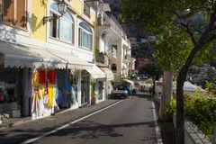 Positano on Amalfi Coast near Naples in Italy. Posi on Sorrento Peninsula in South Italy Royalty Free Stock Photo