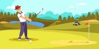 Posibilidad muy remota envejecida del golpe del golfista en campo de golf hermoso stock de ilustración