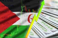 Posición cada vez mayor del dólar americano de la bandera y de la carta de Western Sahara con una fan de billetes de dólar stock de ilustración