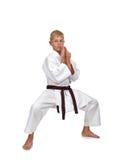 Posición que lucha del muchacho del karate Foto de archivo