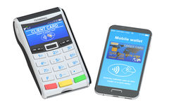 Posición-terminal con el smartphone, concepto de NFC representación 3d Fotografía de archivo