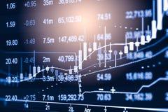 Posicione o gráfico da análise financeira do indicador do mercado de valores de ação no diodo emissor de luz Fotos de Stock Royalty Free