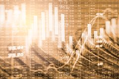Posicione o gráfico da análise financeira do indicador do mercado de valores de ação no diodo emissor de luz Imagens de Stock