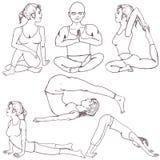 Posiciones de la yoga de la aptitud Foto de archivo libre de regalías