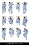 Posiciones el dormir foto de archivo