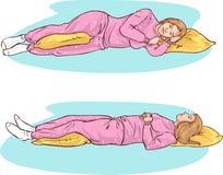 Posiciones el dormir stock de ilustración