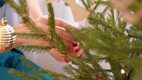 Posiciones en cuclillas cercanas de la silueta de la mujer que cuelgan los juguetes en el árbol de navidad almacen de video