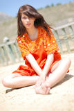 posiedzenia terrace dziewczyny Fotografia Stock