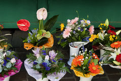 Posies on Market in Bolzano South Tirol Italy Stock Image