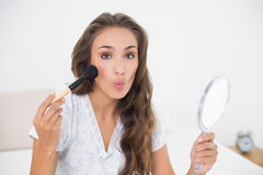 Posing attractive brunette holding a brush and a mirror Stock Photos