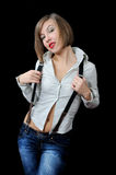 Posing beautiful girl in stripy shirt Royalty Free Stock Photo