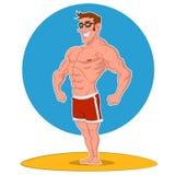 Posing bodybuilder. Vector illustration. beach bodybuilding Vector Illustration