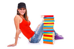 Posing with books Royalty Free Stock Photo
