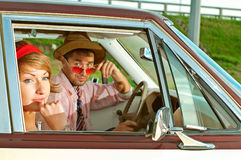 Posing in the car Royalty Free Stock Image