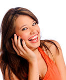 Posing cell phone girl Stock Image