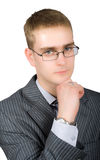 Posing confident busisnessman in glasses isolated Royalty Free Stock Photography
