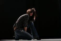Posing in dark Stock Images