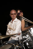 Posing on drums Stock Photography