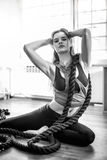 Posing with exercise rope Royalty Free Stock Images