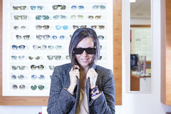 Posing at the optical store Royalty Free Stock Photography