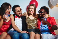 Posing for photography at house party Royalty Free Stock Photography