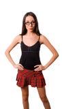 Posing pretty brunette in glasses Stock Image