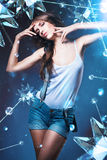 Posing sexy woman in shorts with stars Stock Photography