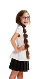 Posing Smiling pretty girl in glasses. Portrait of cheerful smiling female pupil on white Stock Images
