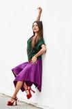 Posing stylish dress woman Royalty Free Stock Image