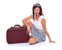 Posing with suitcase Royalty Free Stock Photo