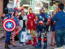 Posing with the Superheroes Royalty Free Stock Photo