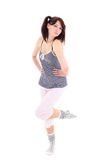Posing woman in pajamas over white Royalty Free Stock Photos