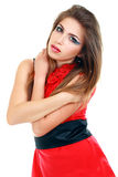 Posing woman red dress Stock Images