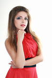 Posing woman red dress Royalty Free Stock Image