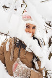 Posing woman in snow Stock Photography