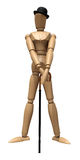Posing wooden manikin. With a cane and a hat on a white backgroun Royalty Free Illustration
