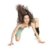 Posing young dancer with hair in motion Stock Photography