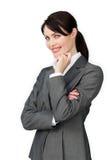Posição bonita positiva da mulher de negócios Imagem de Stock