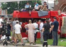 Posição do tiro da película de uma cena do acidente. Fotografia de Stock