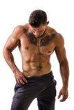 Posição muscular em topless considerável do homem, isolada Fotografia de Stock Royalty Free