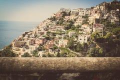 Positano и побережье Италия Амальфи Стоковые Фотографии RF