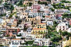 Positano, свободный полет Amalfi, Италия Стоковые Фото
