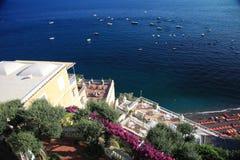 Positano. Flower draped terrace in Positano on the Amalfi Coast of Italy Stock Photography