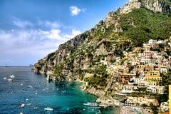 Positano, свободный полет Amalfi, Италия Стоковые Фотографии RF
