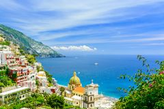 Positano, Amalfi Coast, Campania, Italy. beautiful view on old town at sunny day. Travel concept royalty free stock image