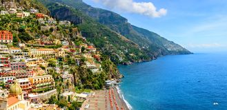Positano, Amalfi Coast, Campania, Italy. Panoramic view on old town at sunny day. Travel concept stock image