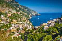 Positano, Amalfi Coast, Campania, Italy. Scenic picture-postcard view of the town of Positano at famous Amalfi Coast with Gulf of Salerno in beautiful evening stock photos